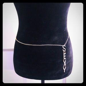 Women rhinestone chain belt hip one size